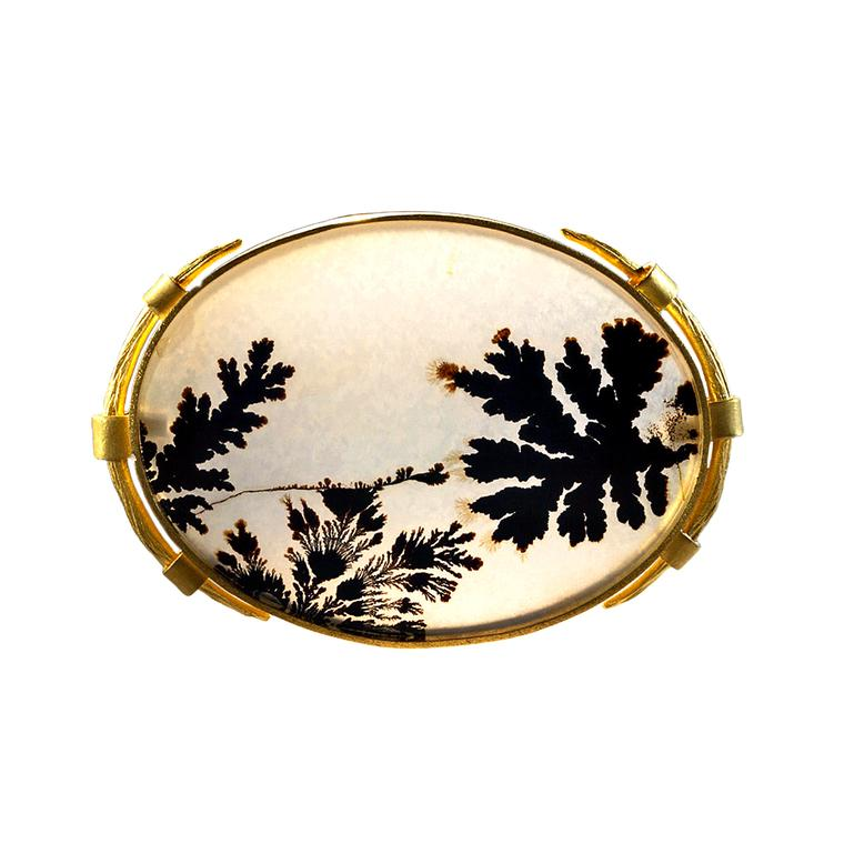 Dendritic agate brooch