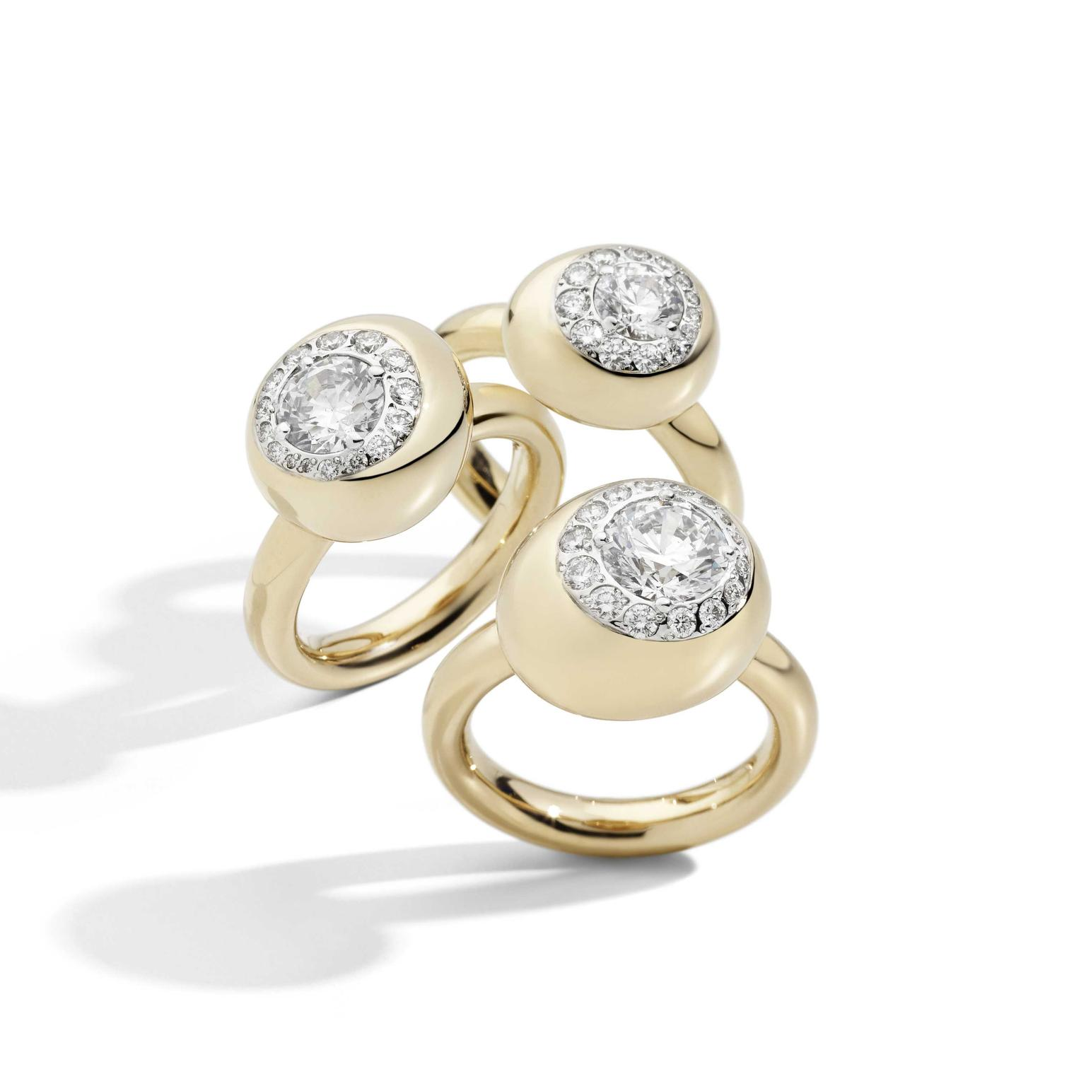 Pomellato Nuvola rose gold diamond rings