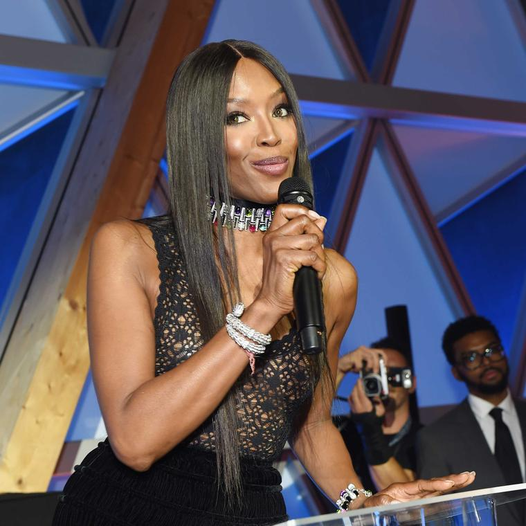 Naomi Campbell at Fashion for Relief in Bulgari jewels at Cannes Film Festival