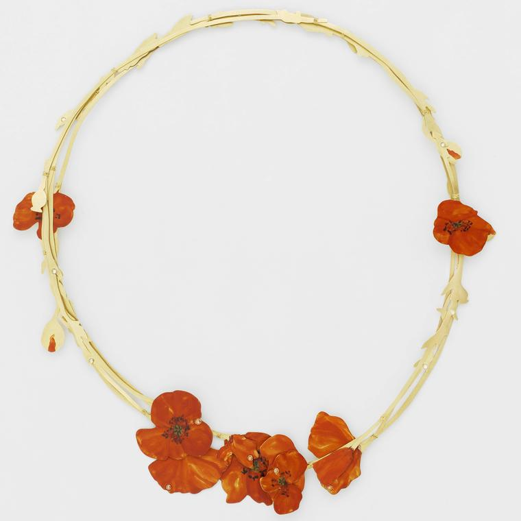 Christopher Thompson Royds' Natura Morta necklace with poppies of gold enamel and diamonds