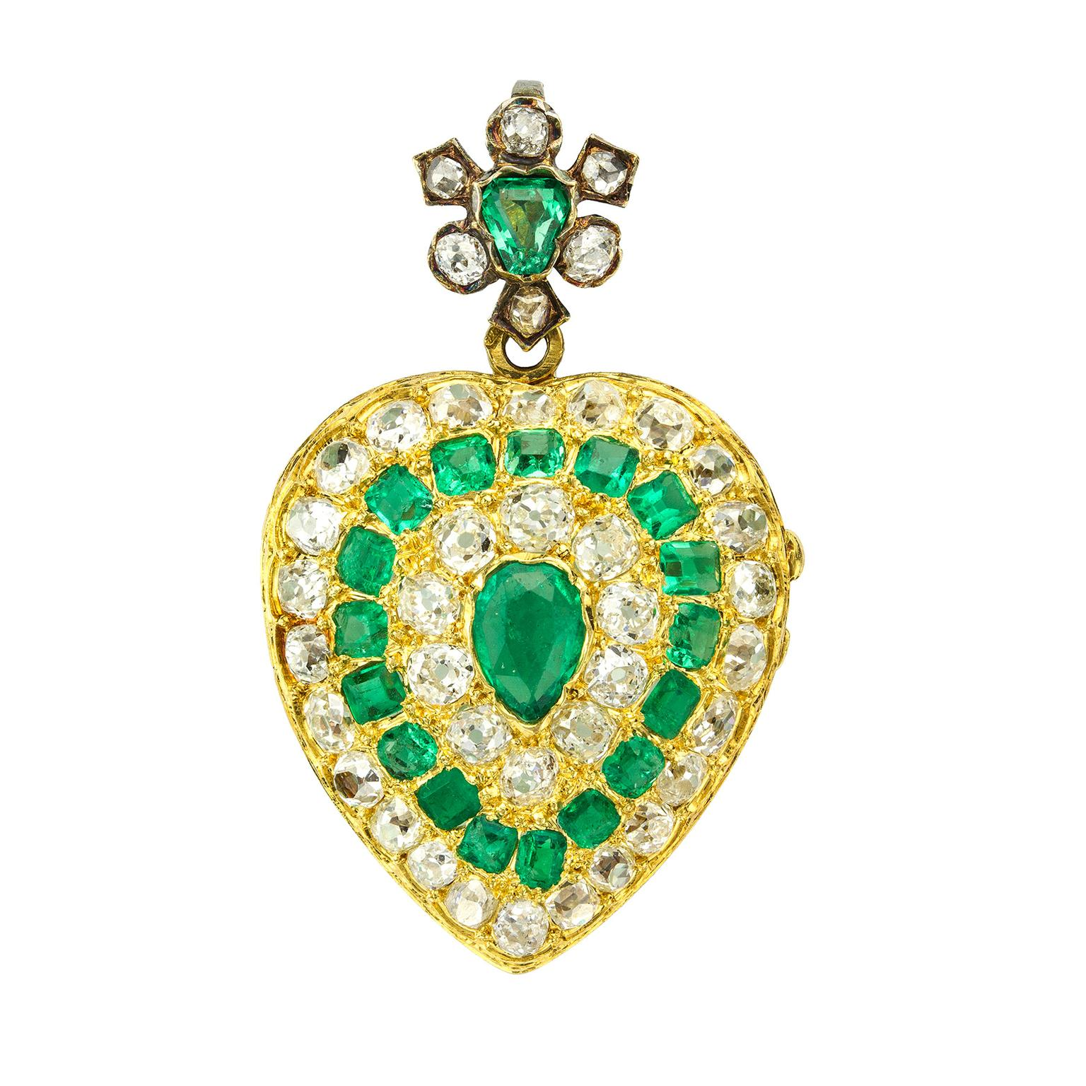 Bentley & Skinner emerald and diamond heart pendant