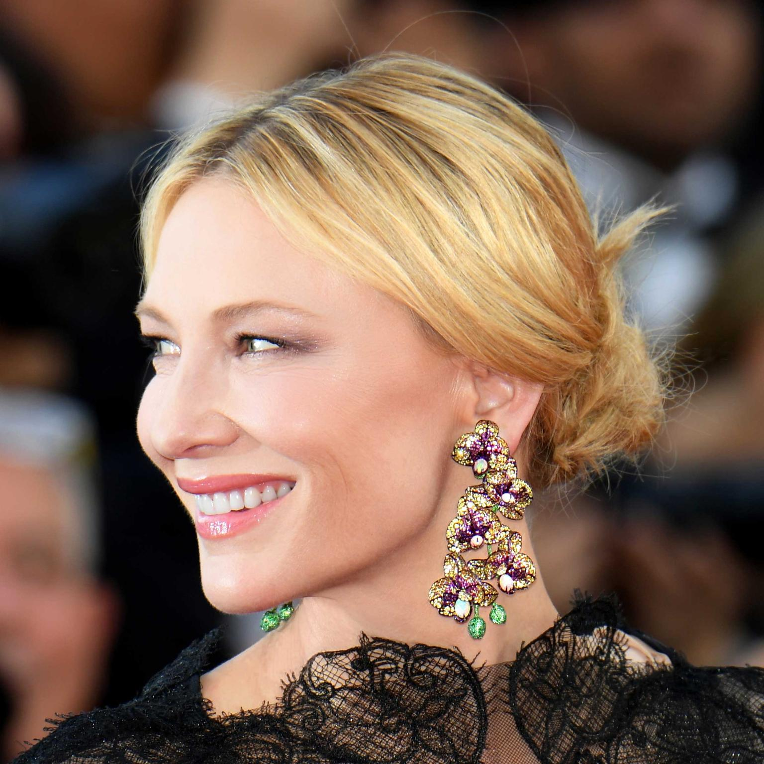 Cate Blanchett in Chopard Orchid earrings at Cannes Film Festival 2018