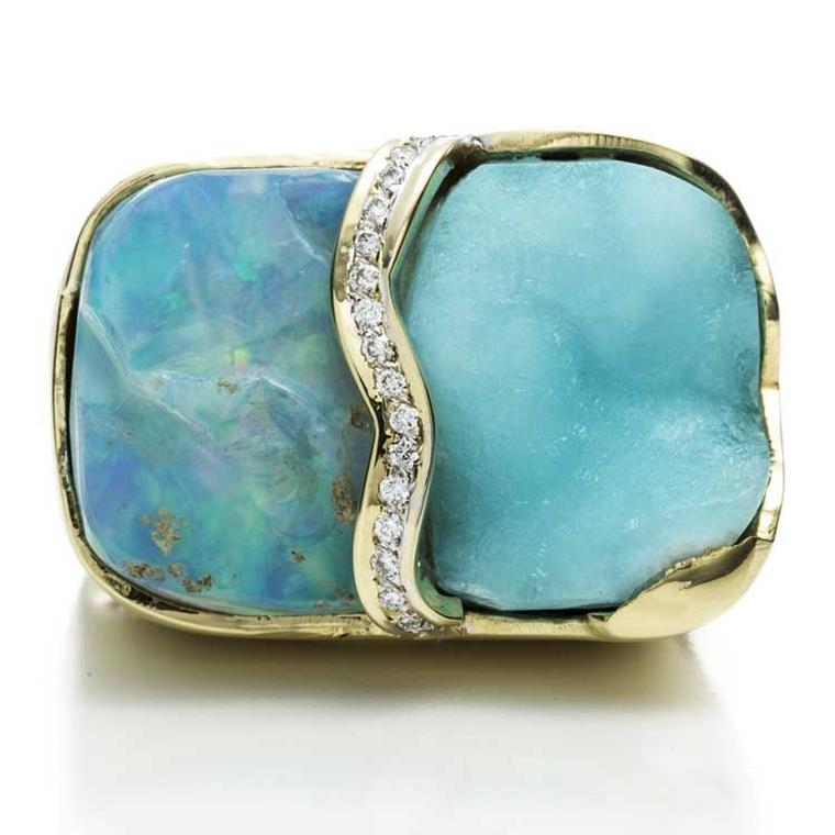 Kara Ross Petra Split ring with raw blue opal, raw hemimorphite and diamonds
