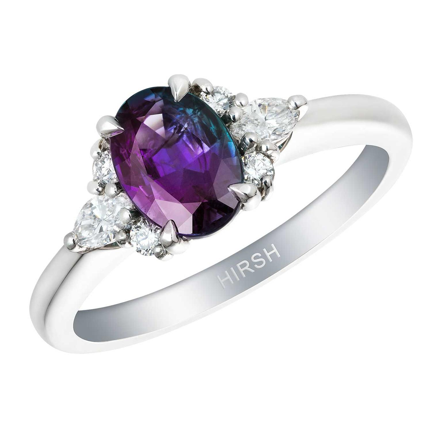 Papillon ring by Hirsh London with colour changing Alexandrite
