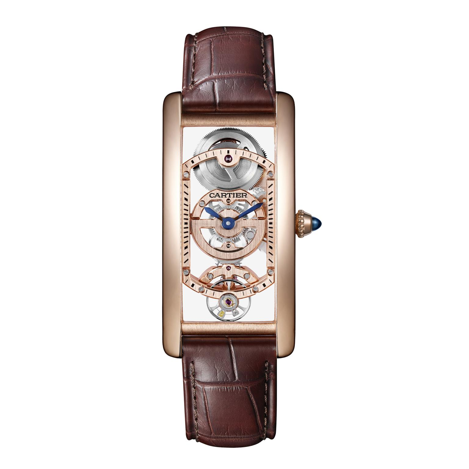 Cartier Tank Cintrée Skeleton pink gold watch