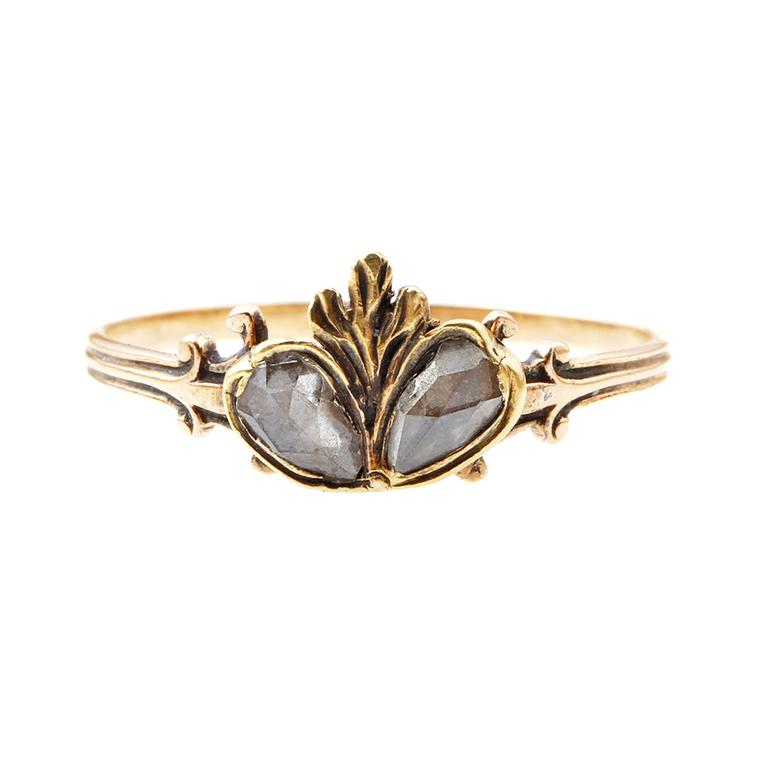 Bell and Bird gold twin diamond heart ring