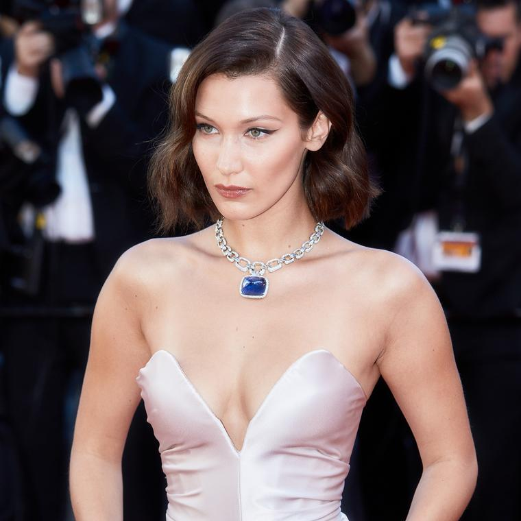 Bella Hadid in Bulgari sapphire high jewellery necklace at the Cannes Film Festival 2017