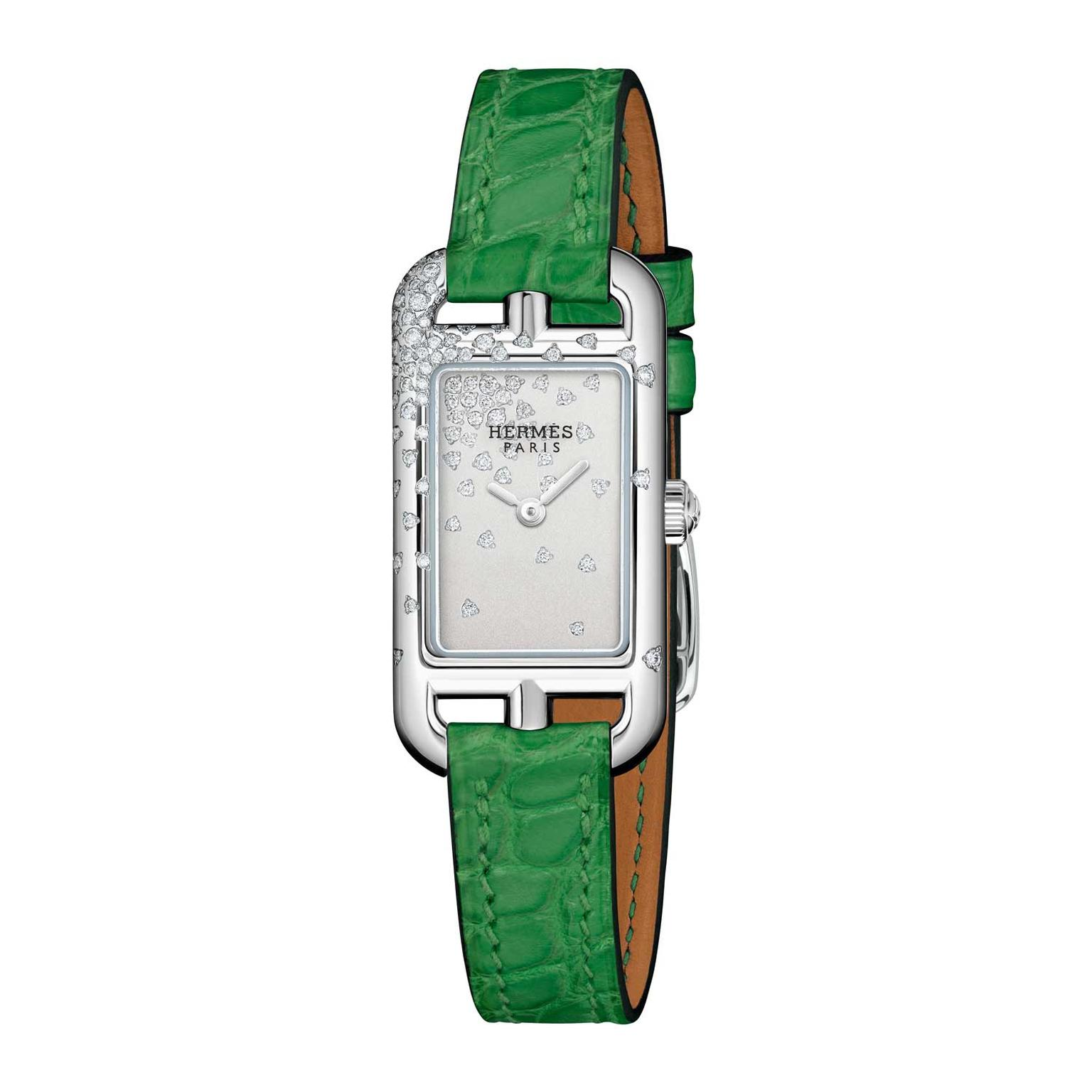 Hermes Nantucket Jete de diamants watch green strap