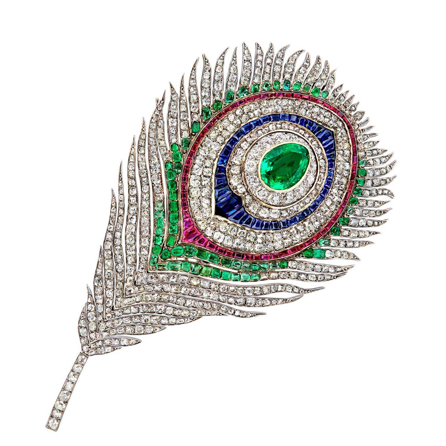 Mellerio dits Meller articulated and transformable peacock brooch, circa 1968