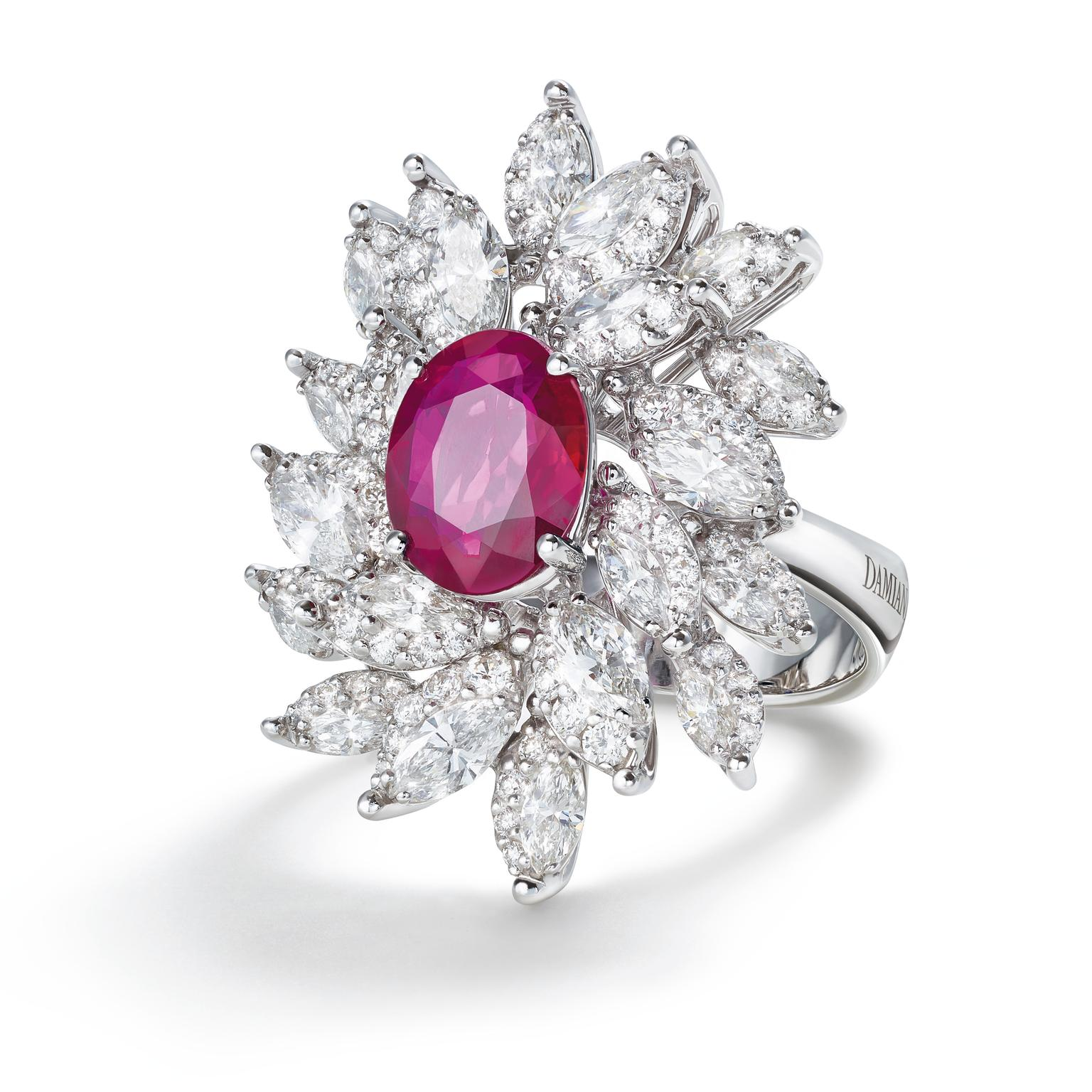 Damiani Emozioni collection ruby and diamond ring