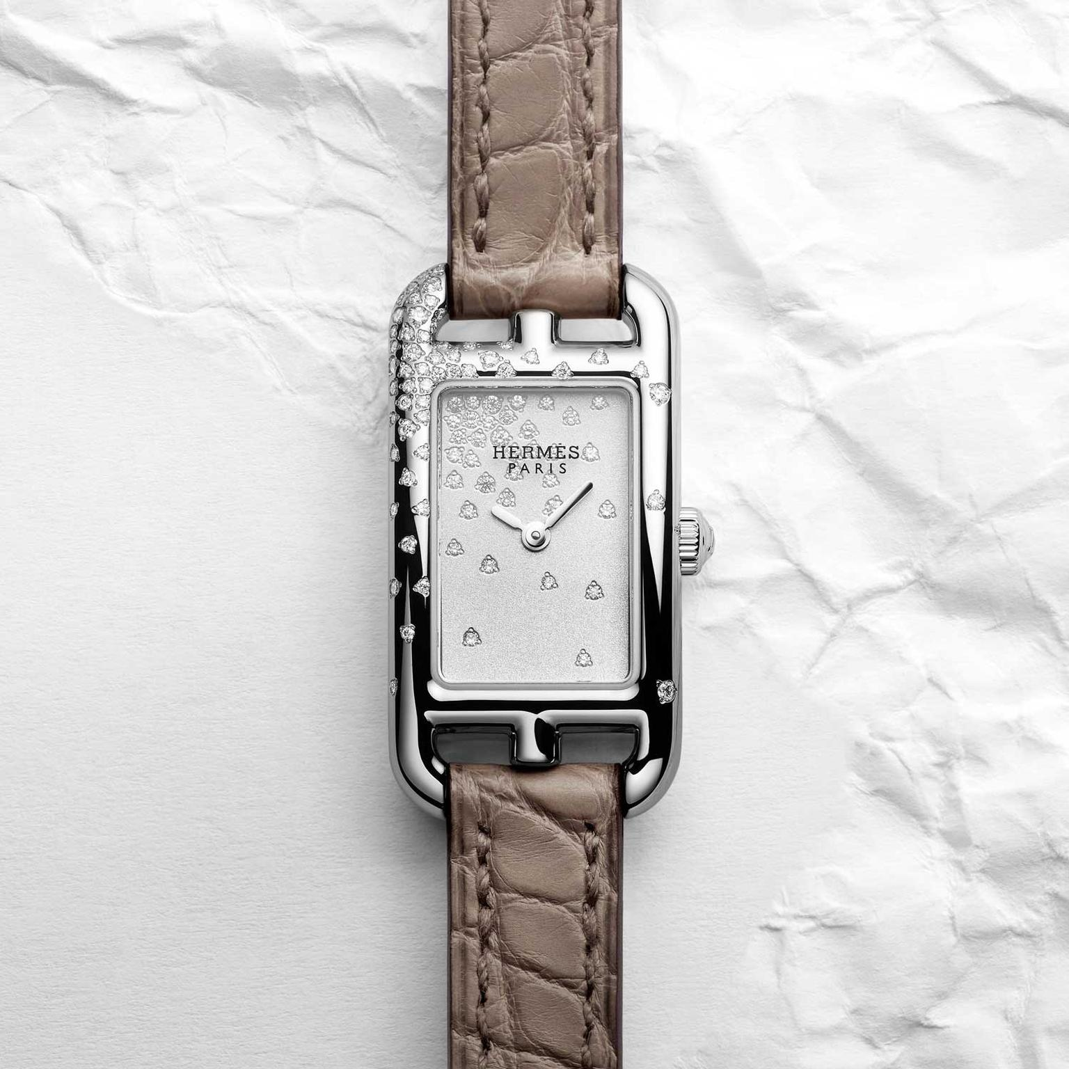 Hermes Nantucket jete de diamants watch with brown alligator strap