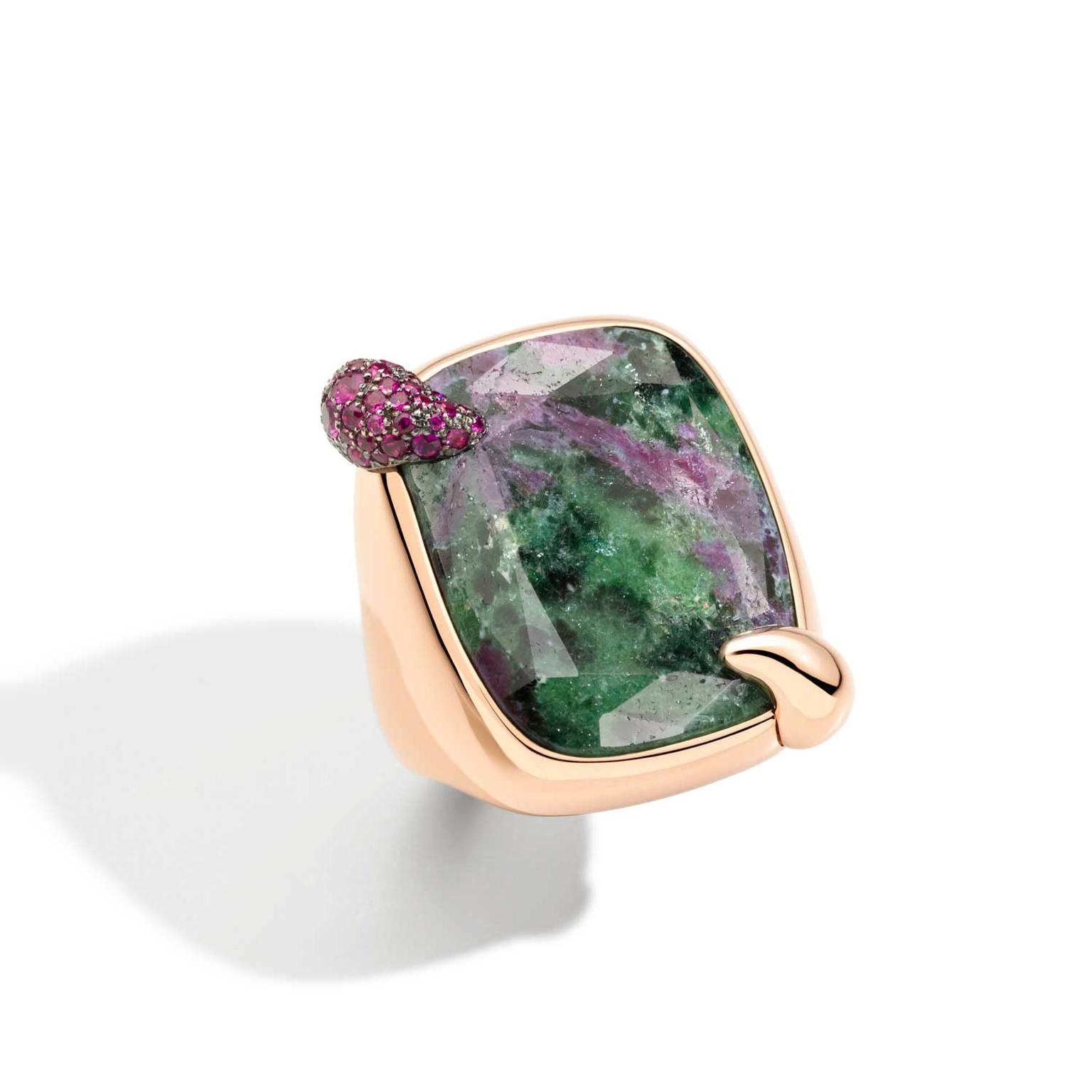 Pomellato Ritratto 50th anniversary Secret Garden zoisite ring with ruby inclusions
