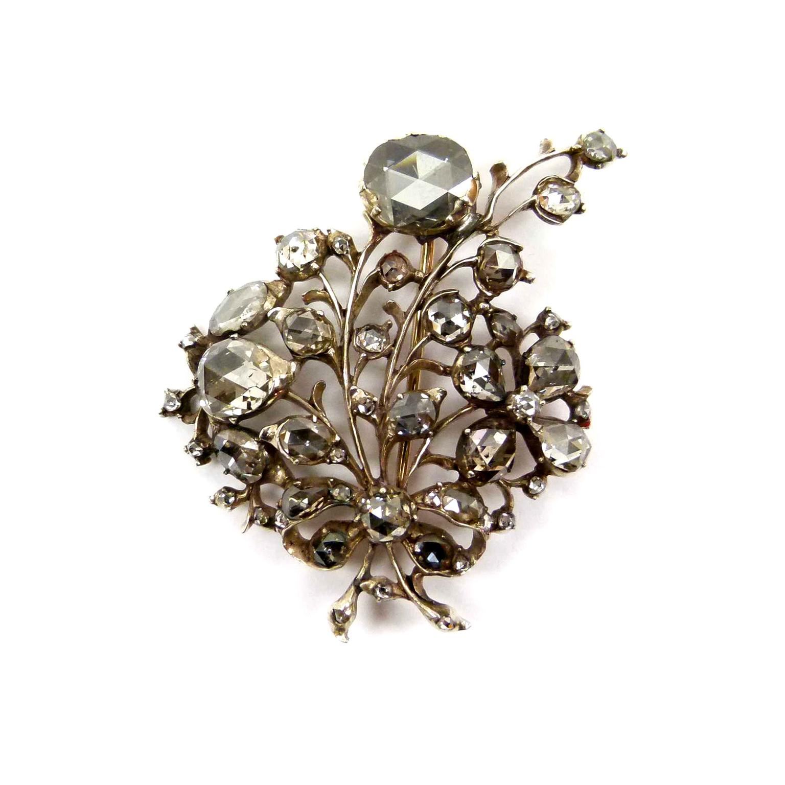 S.J. Phillips 18th century rose-cut diamond spray brooch