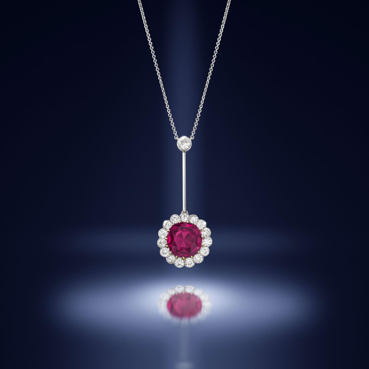 Belle Époque ruby diamond pendant