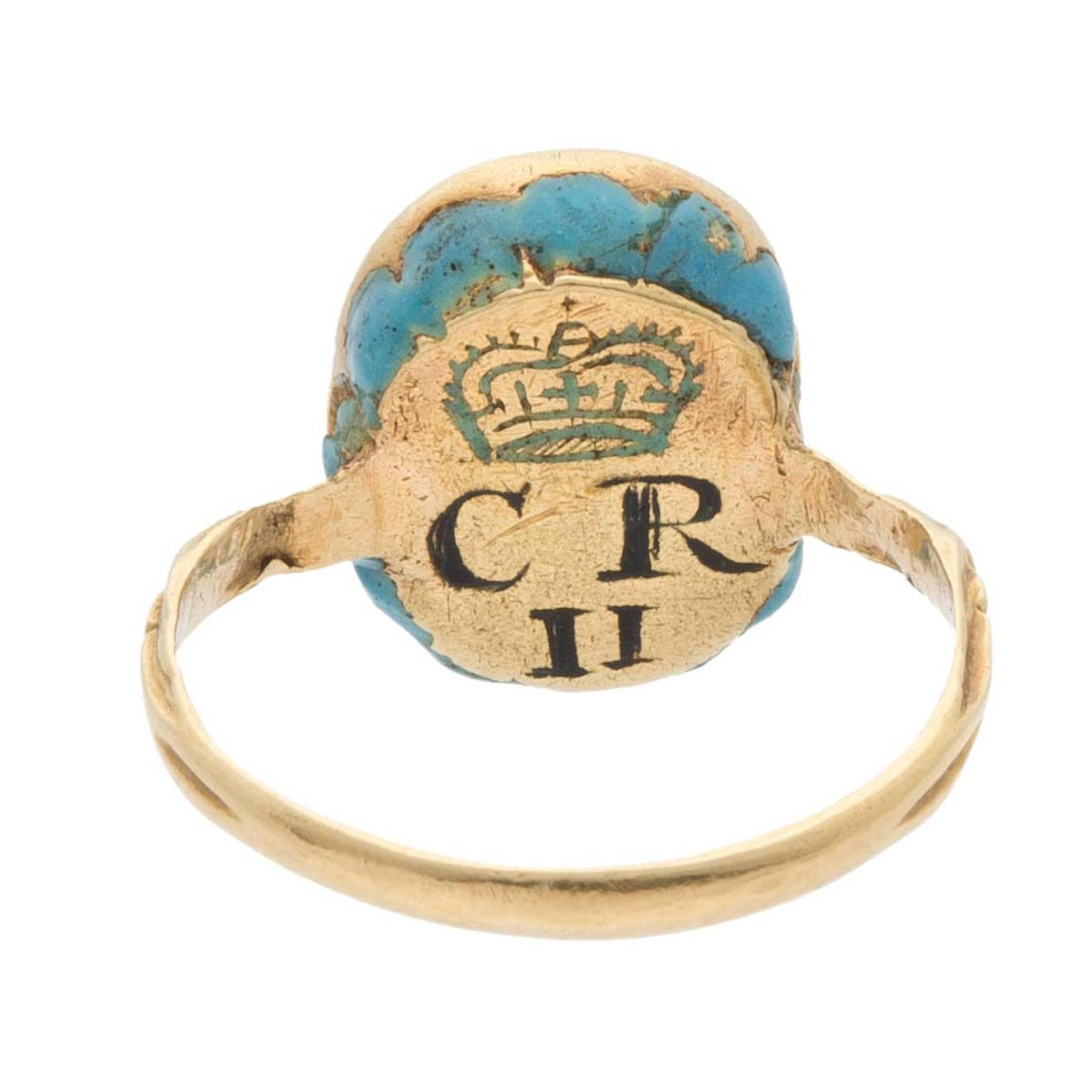 Stuart ring featuring King Charles II back view