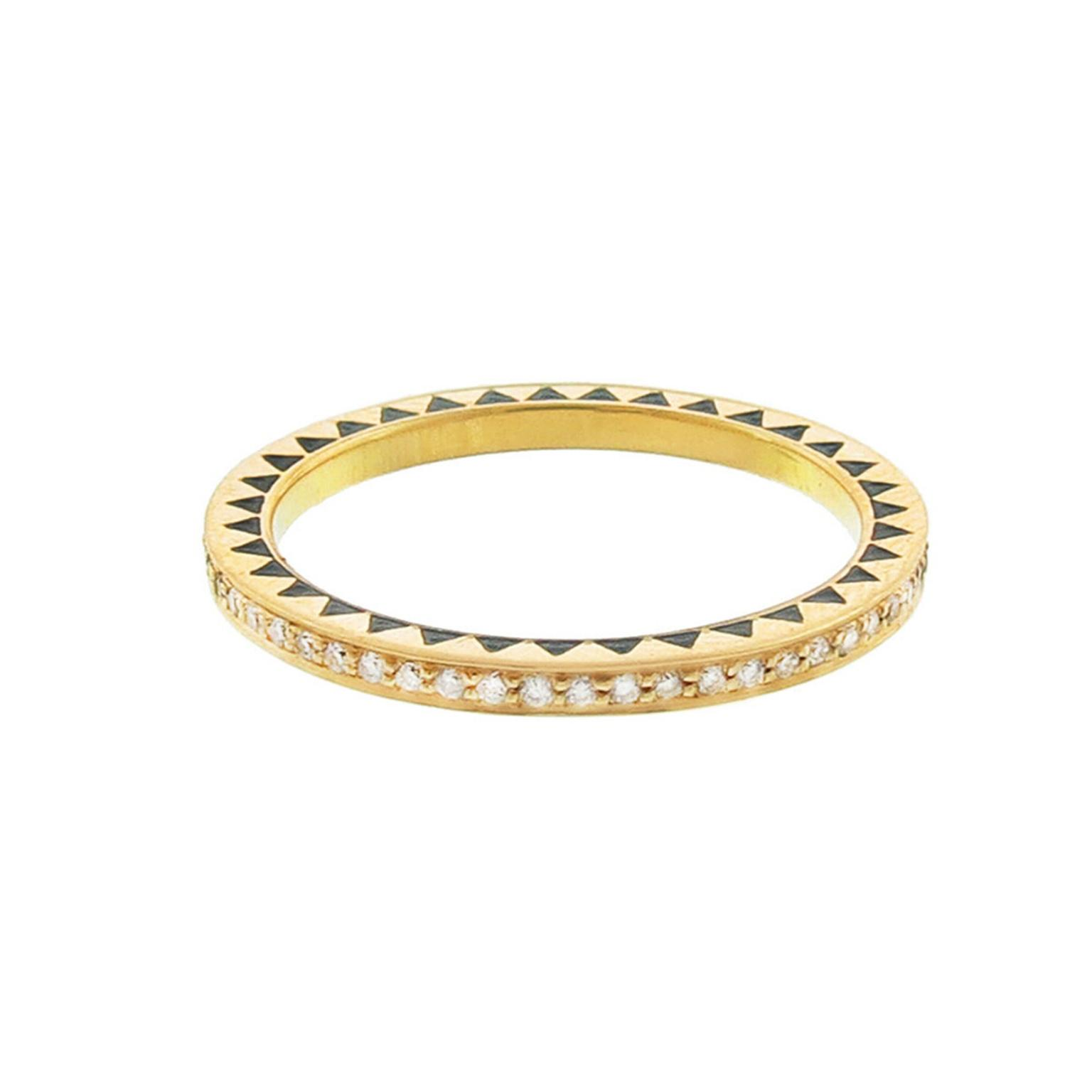 Foundrae diamond and Champlevé enamel eternity ring