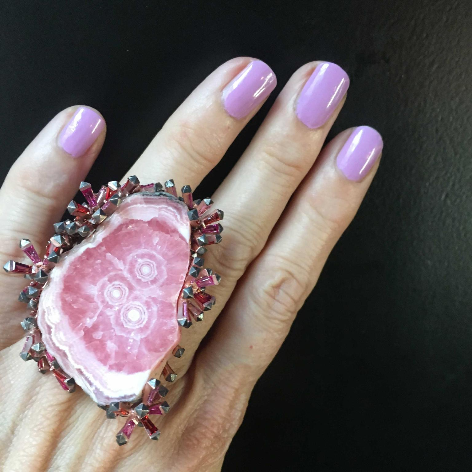 Lydia Courteille Rosa del Inca rhodochrosite ring with crystals on side