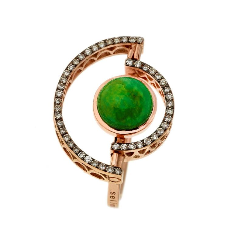 Selim Mouzannar Sunset Cuff in pink gold with green turquoise and diamonds