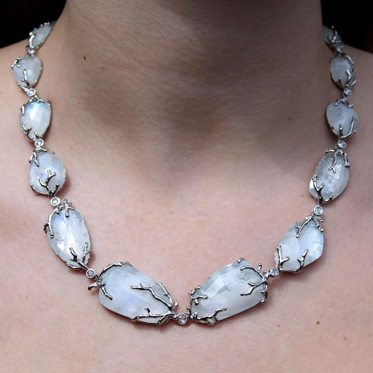 AENEA Alaria rainbow moonstone necklace