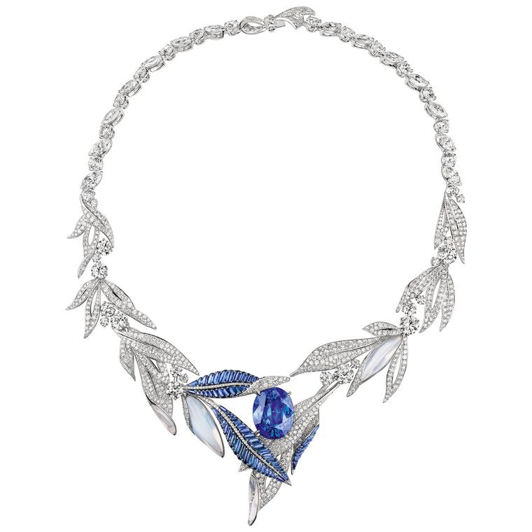 Laurel Firmament Apollinien Burmese sapphire and moonstone necklace