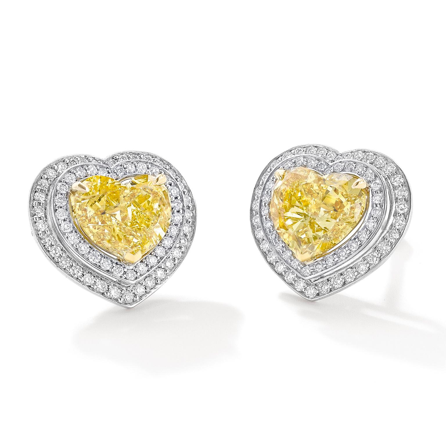 Boodles Double Vintage yellow diamond heart earrings