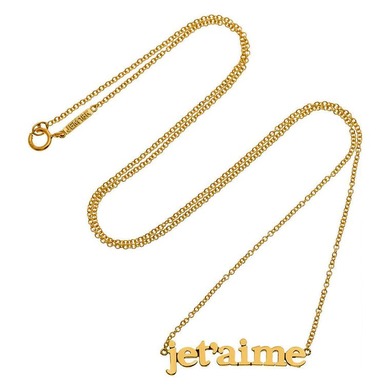 Jennifer Meyer yellow gold Je t'aime necklace
