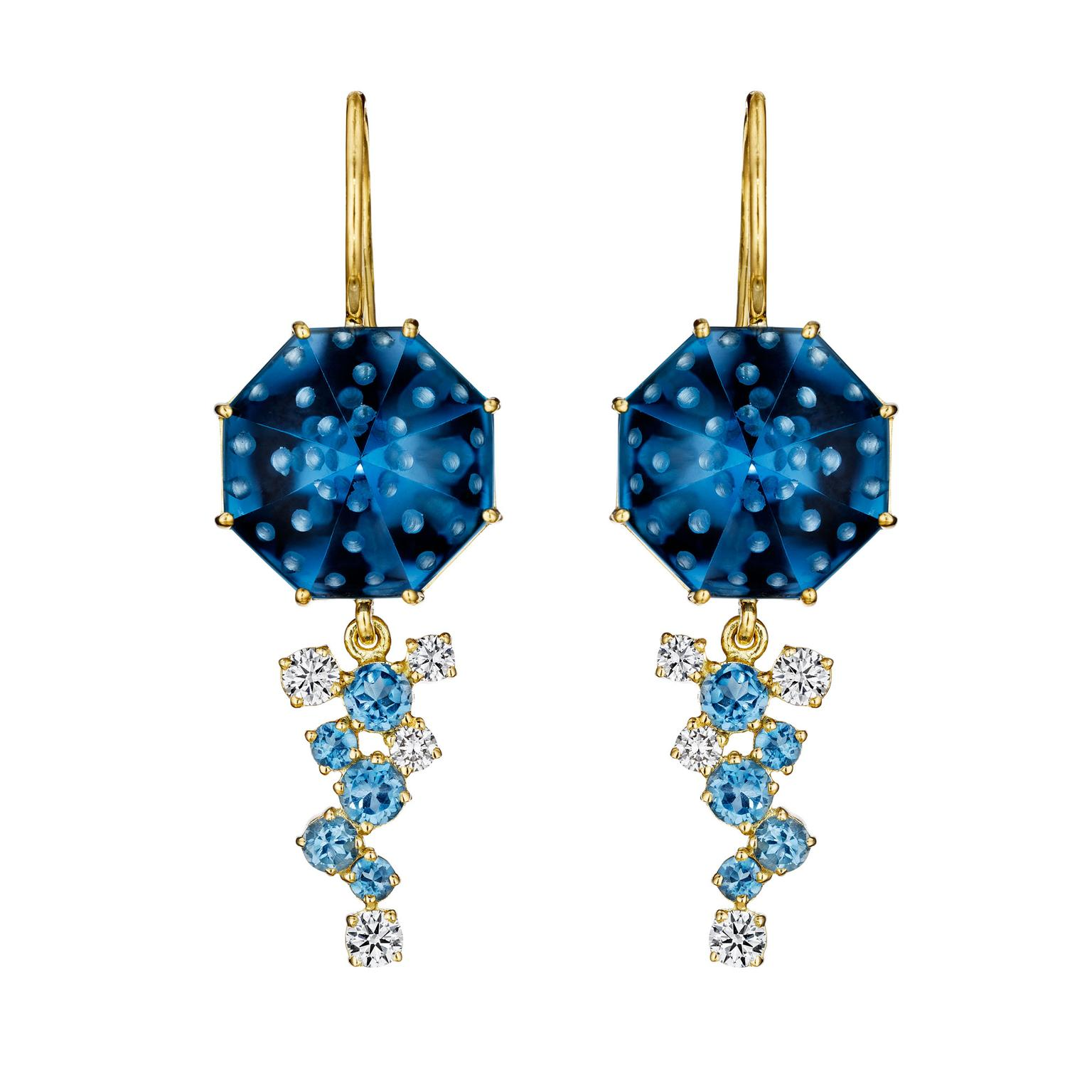 Madstone Design Bubble Ice blue topaz earrings