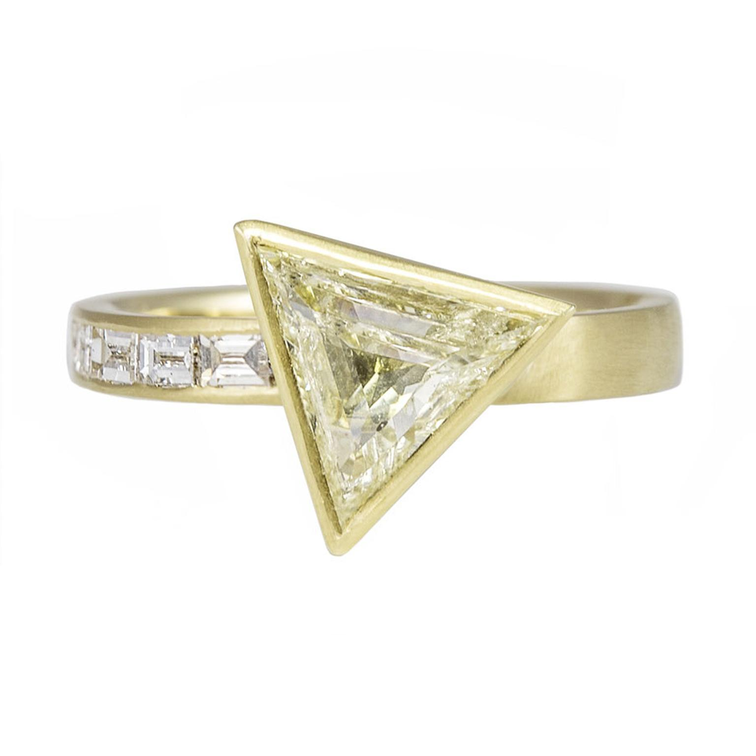 Tomfoolery triangle and baguette diamond engagement ring
