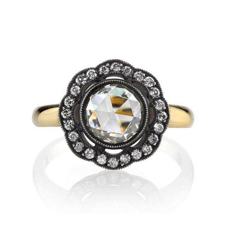 Single Stone rose-cut diamond ring