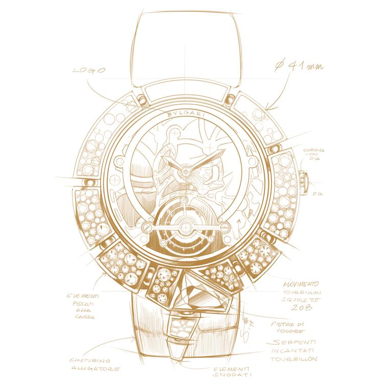 Bulgari Serpenti Incantati Tourbillon sketch