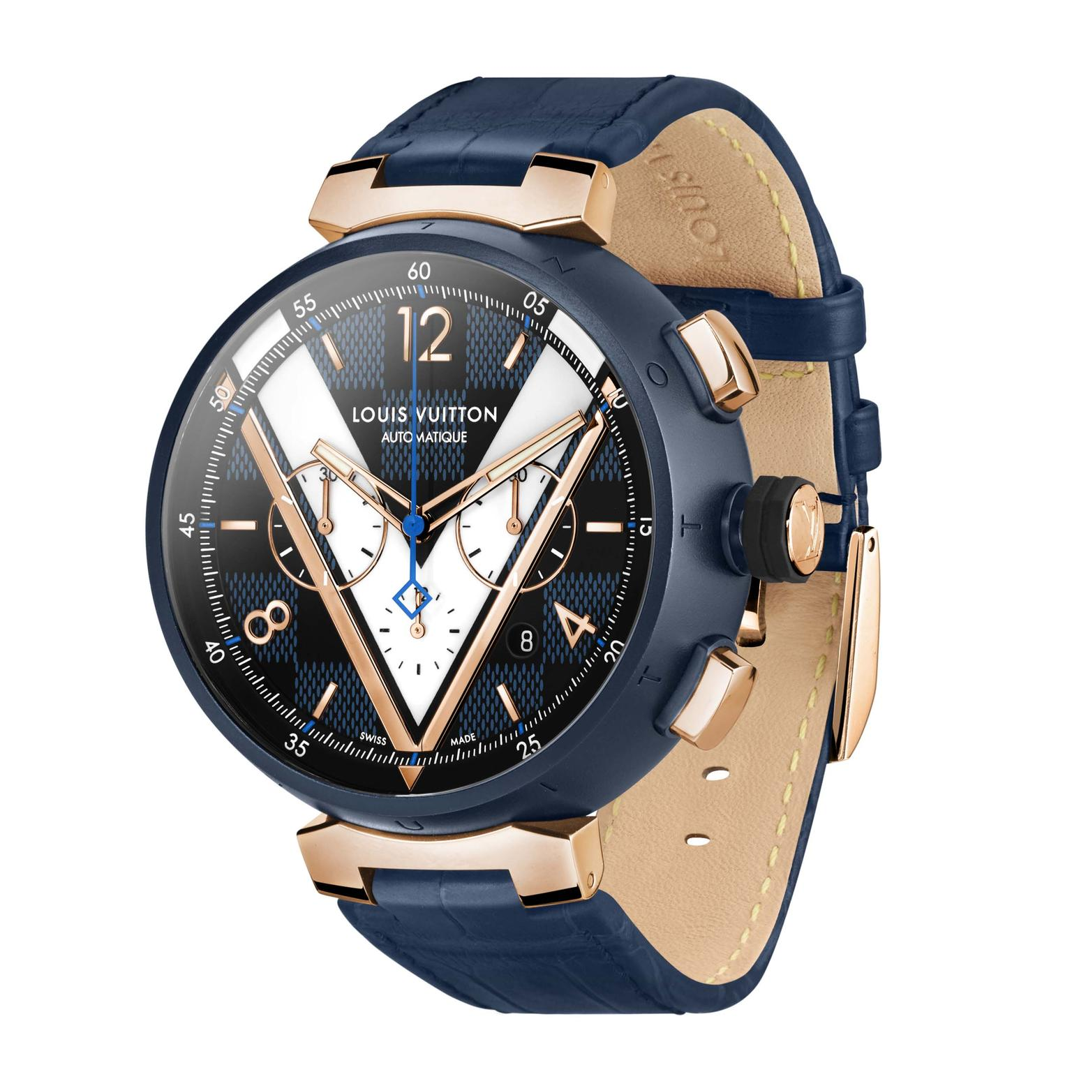Louis Vuitton Tambour Damier Cobalt Chronograph pvd and gold