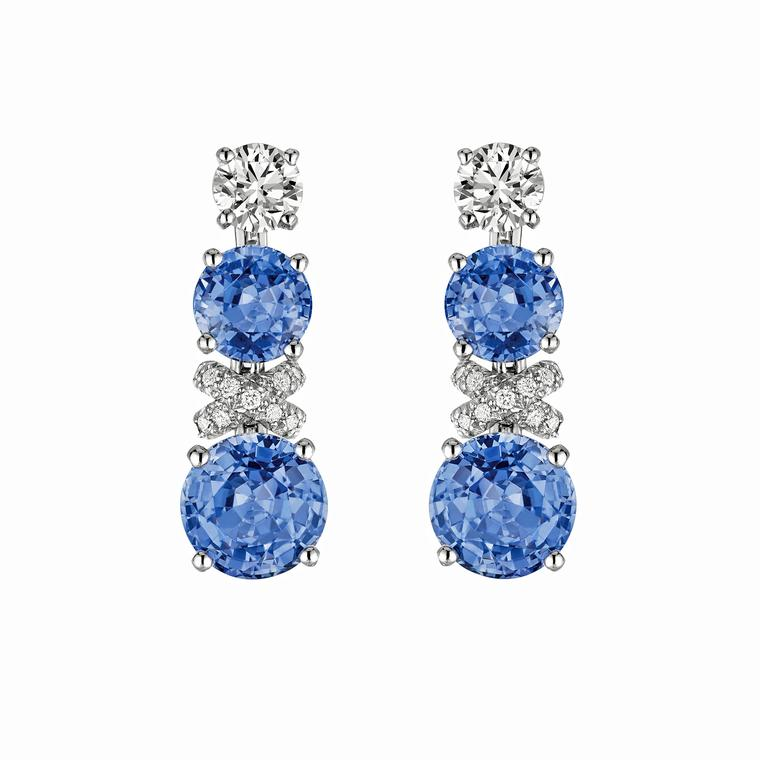 Chaumet high jewellery Liens Ceylon sapphire earrings
