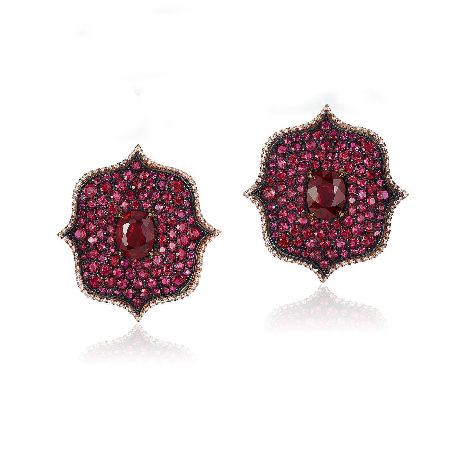Bayco Monochrome Lotus ruby earrings