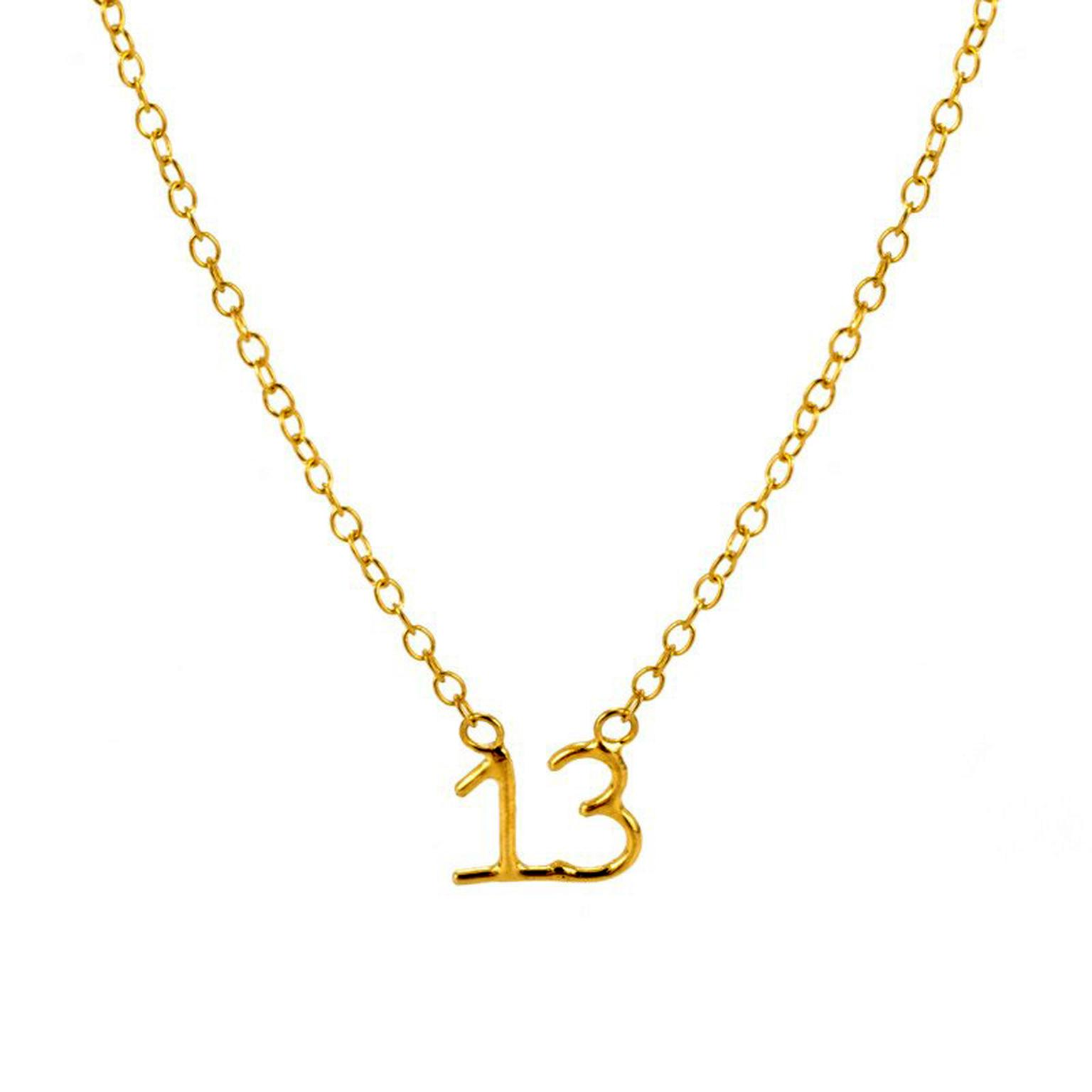 Laura Gravestock yellow gold Lucky Number 13 necklace
