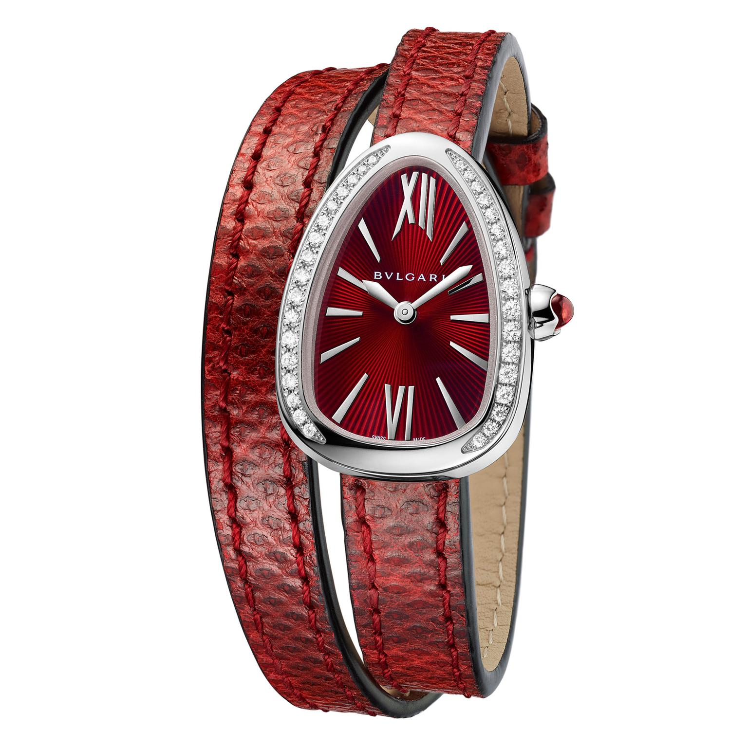 Bulgari Serpenti watch in steel with diamonds and red dial