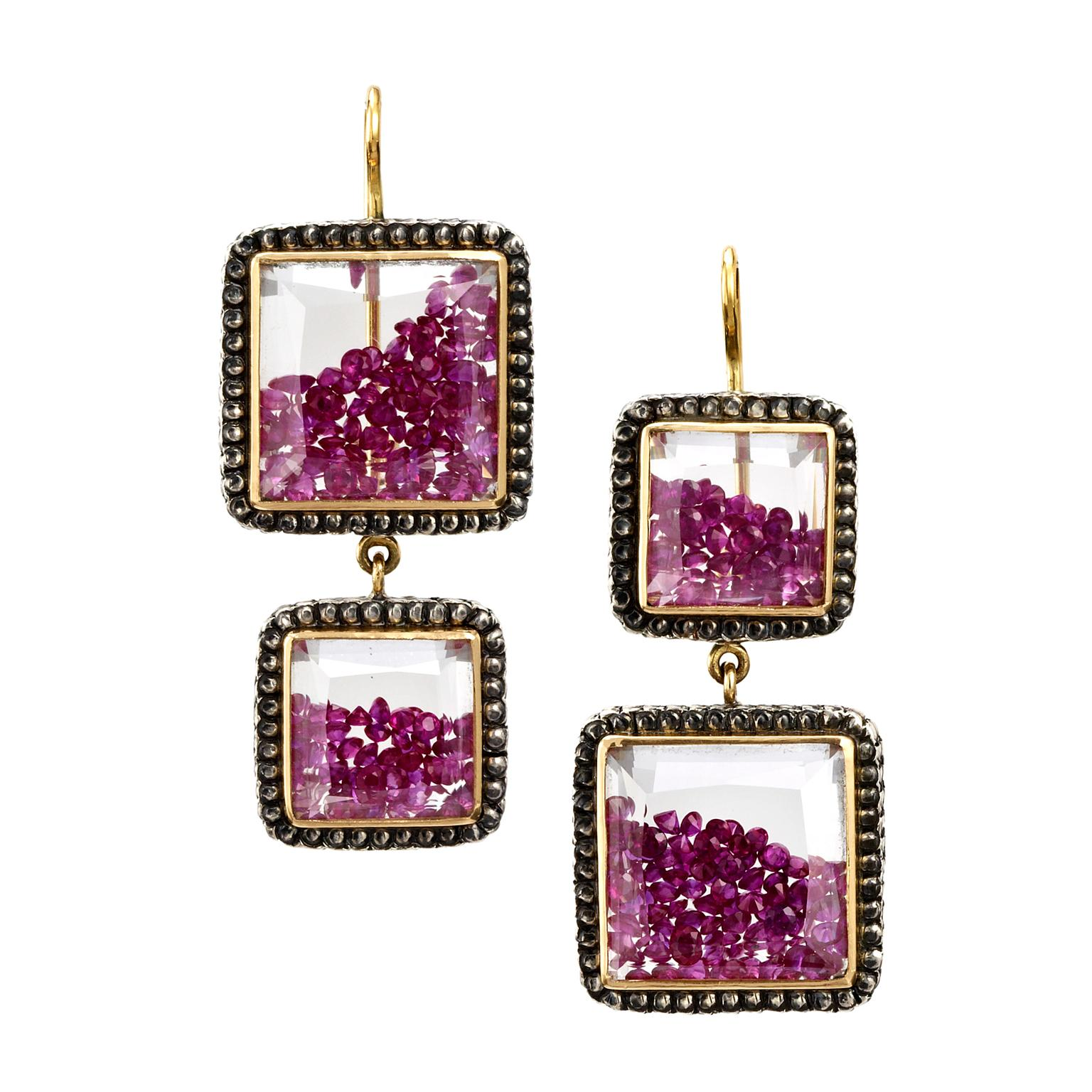 Moritz Glik ruby and sapphire earrings in yellow gold