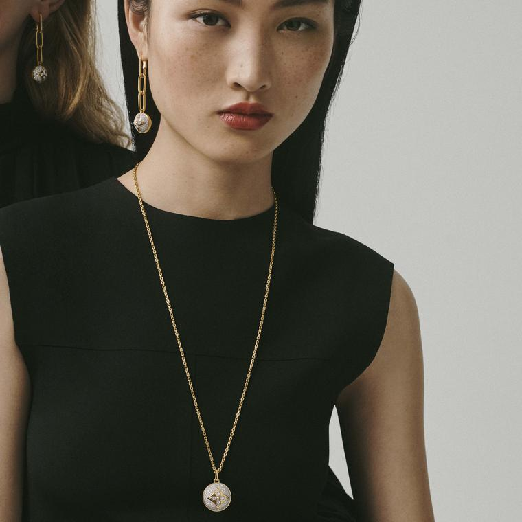 Louis Vuitton B.Blossom necklace and earrings on model