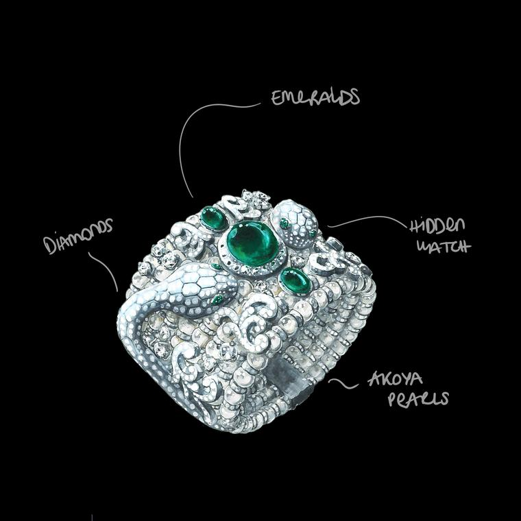 Drawing Serpenti Misteriosi secret watch by Bulgari