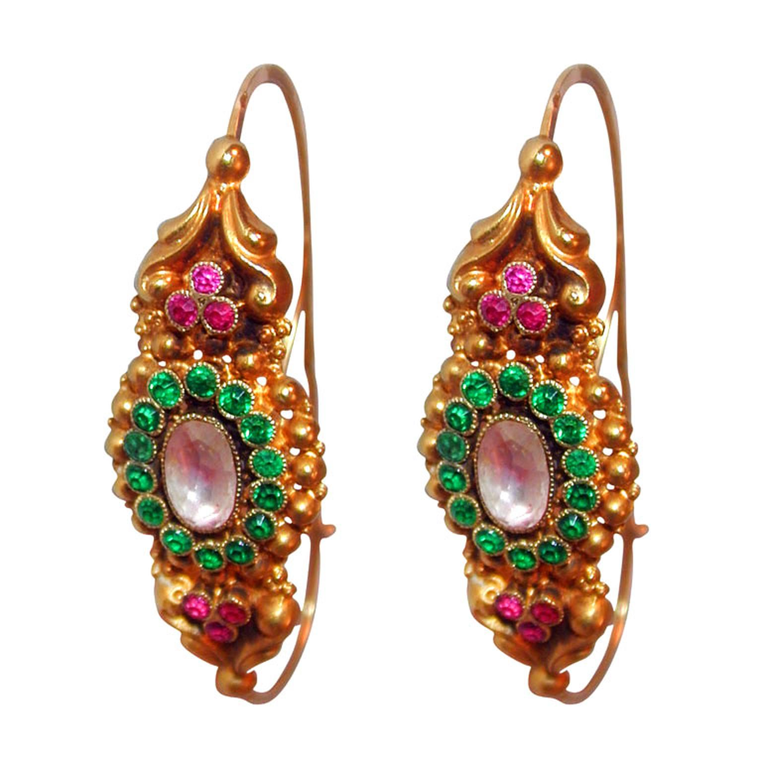 The Spare Room Antiques Iberian emerald earrings