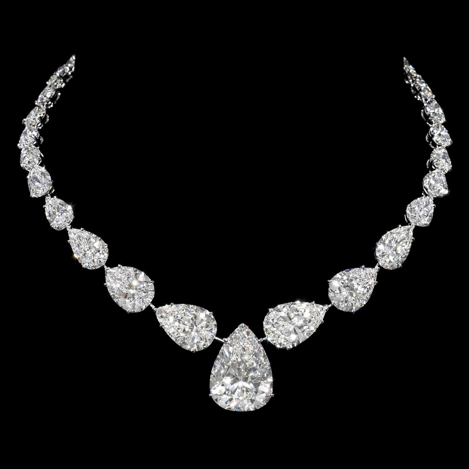 diamond drop featuring graff pear drops necklace a pendant shaped collections bow motif shape and