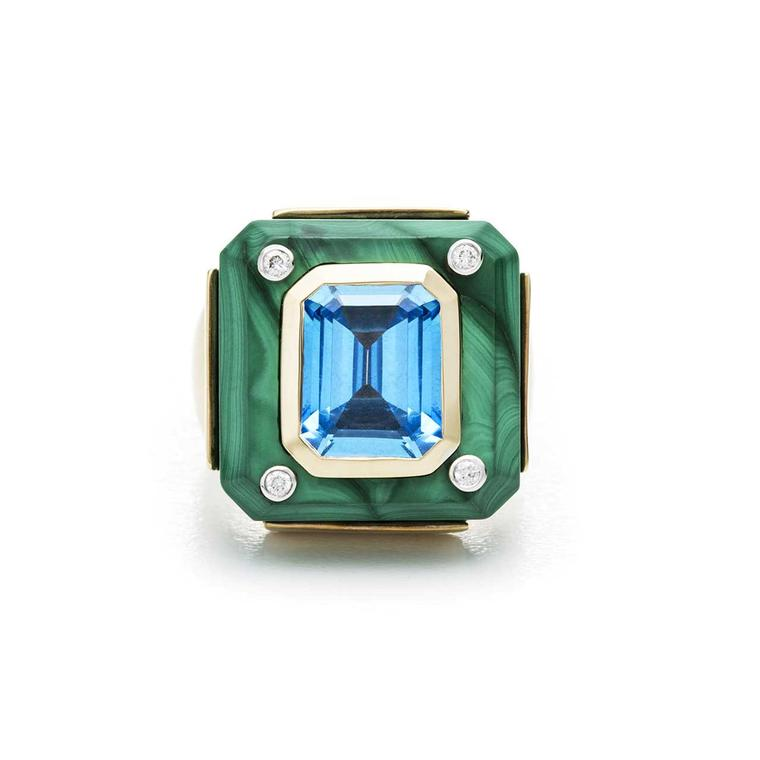 Kara Ross small Cava ring with malachite base and blue topaz front