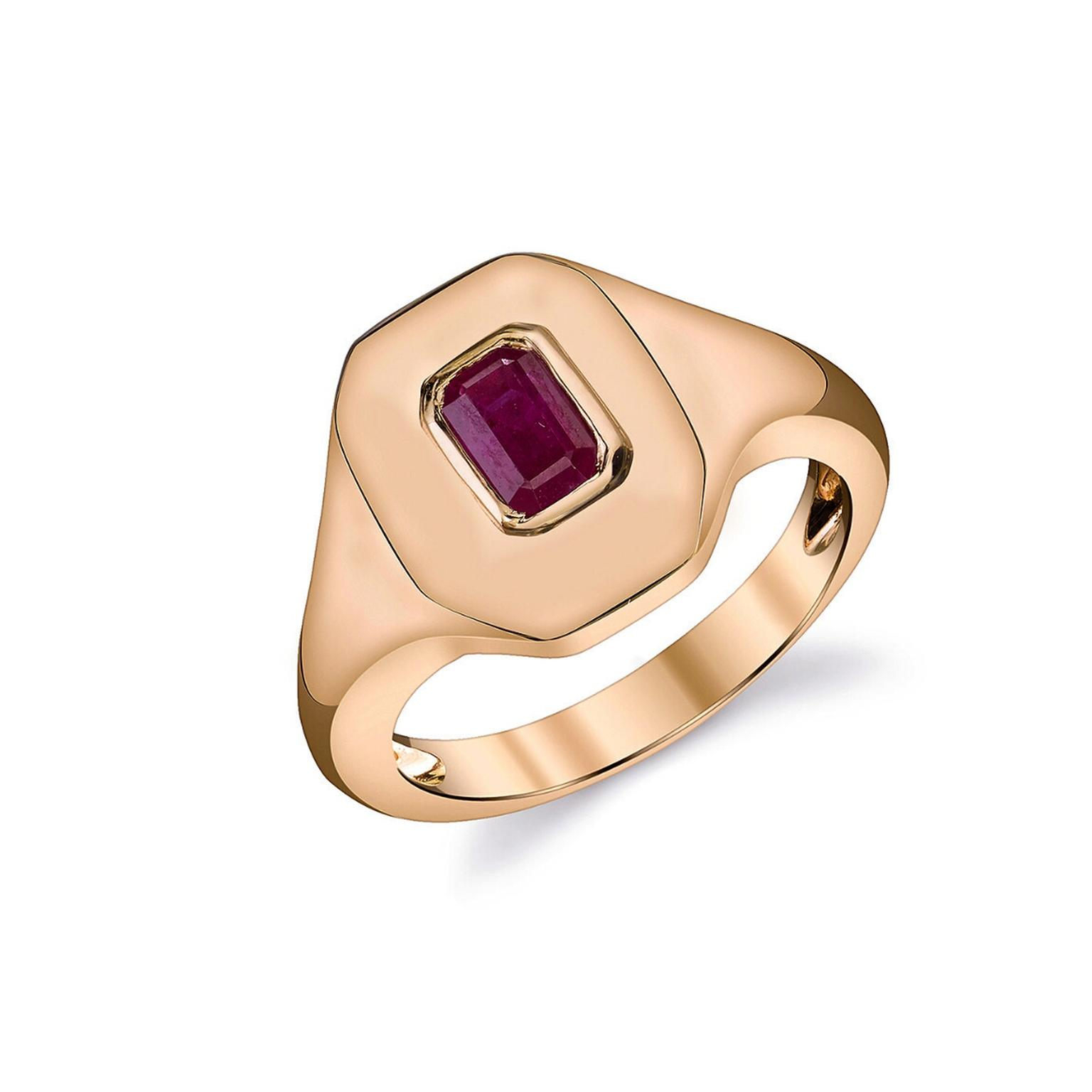 Shay ruby and rose gold signet ring