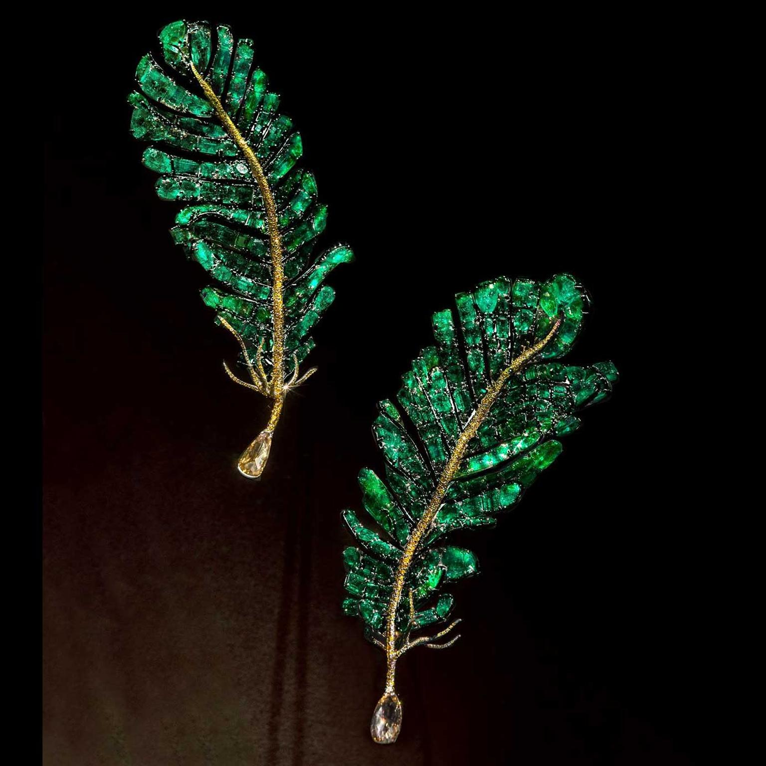 Cindy Chao 2018 Black Label Masterpieces XII and XV Emerald Feather Brooches