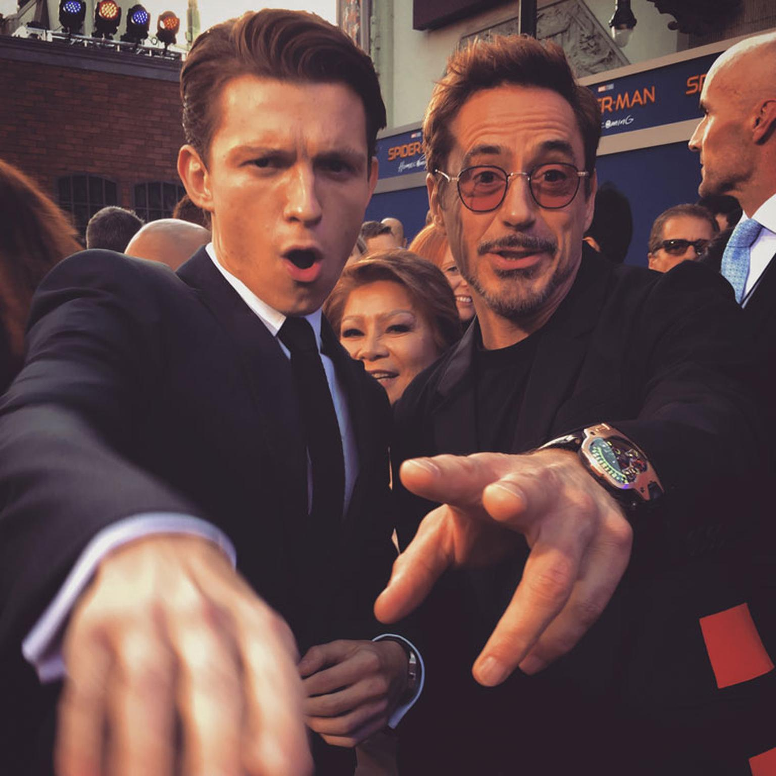 Tom Holland and Robert Downey Jr. wearing Urwerk UR-110 watch