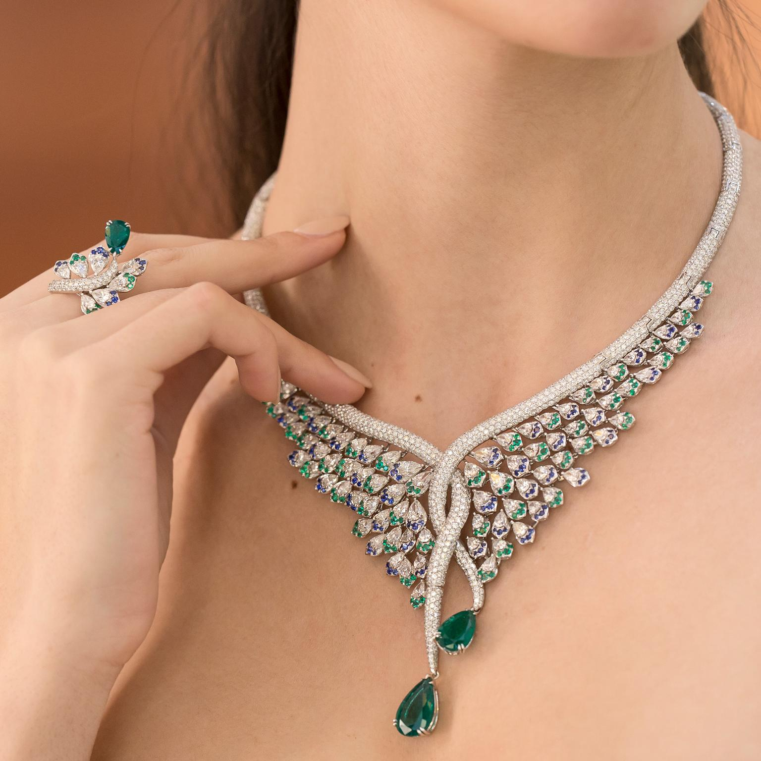 Avakian Emerald sapphire and diamond set