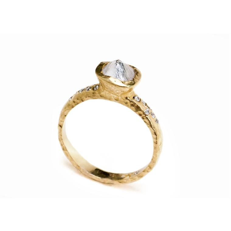 Diamond Octahedron ring in 14ct gold set with a rough diamond and polished diamond shoulders by Anouk Jewelry
