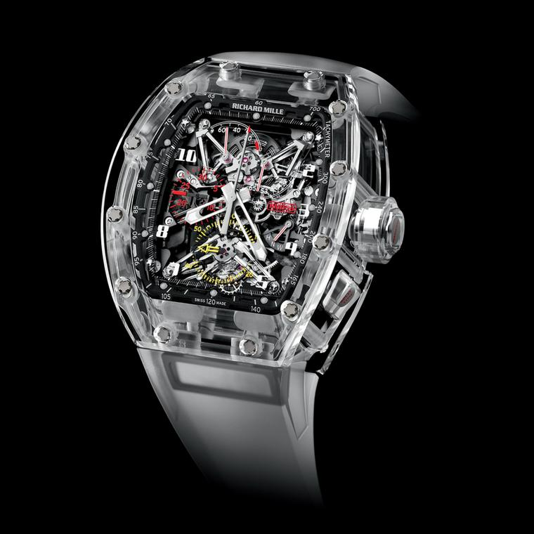 To create its curved surfaces, the sapphire crystal case of the Richard Mille RM056 watch was polished using an ultrasound in a pot of viscous diamond-particle filled mud.  The failure rate for such a process is high when the three parts of the case have