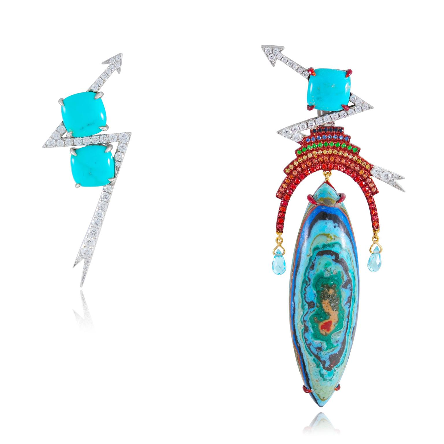Lydia Courteille sapphire and tsavorite Thunder earrings