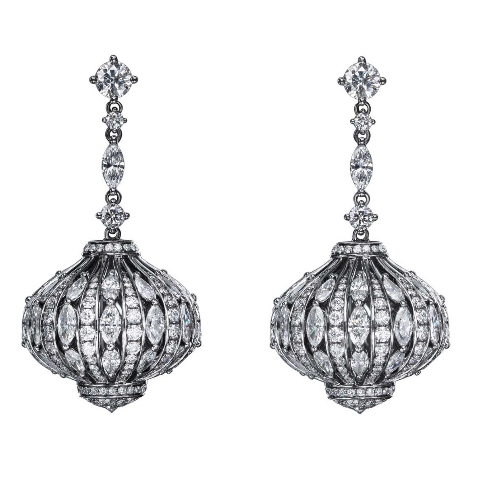 The Marquise earrings from No. THIRTY THREE in 18 carat black gold with white diamonds