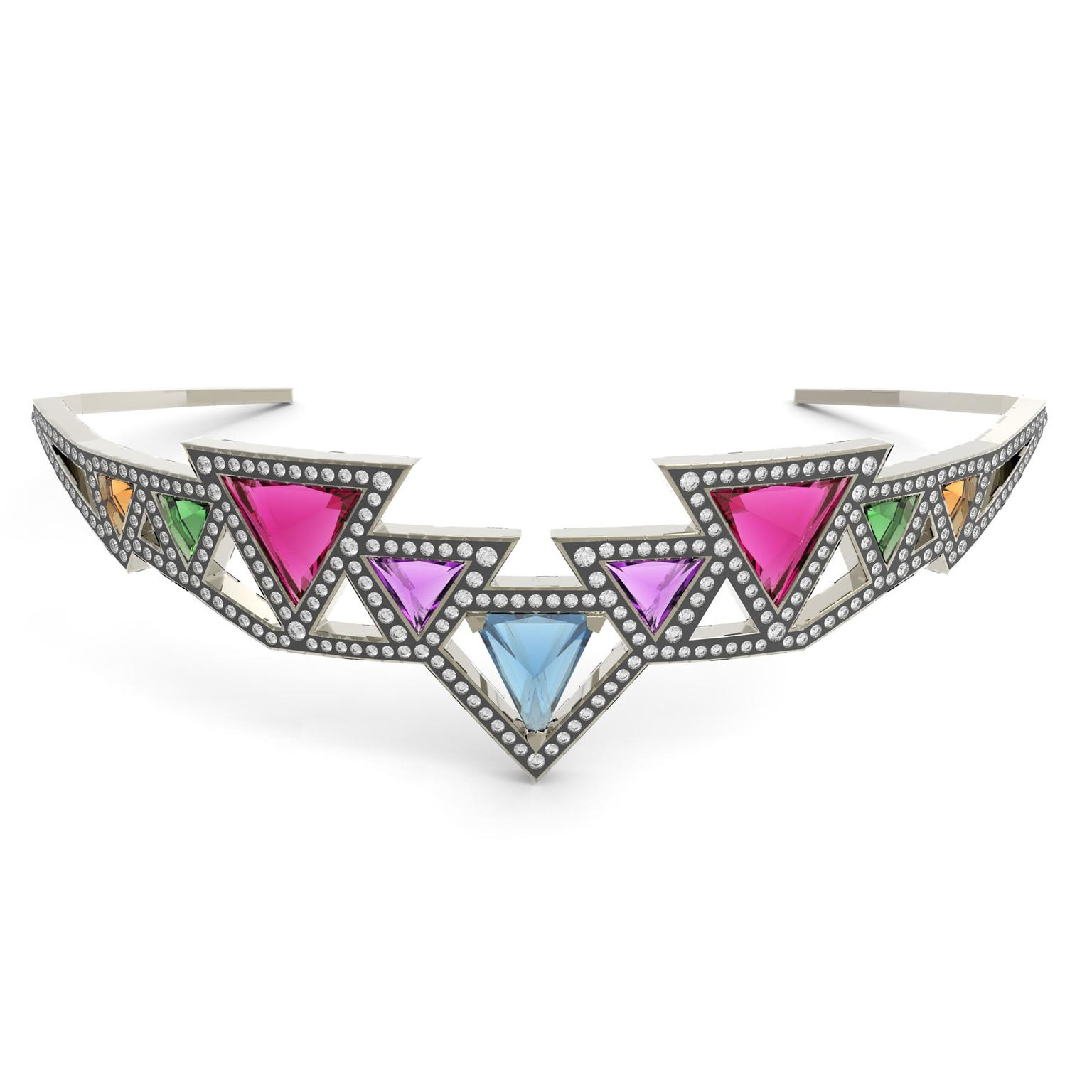 Noor Fares Sri Yantra choker with coloured gemstones and diamonds